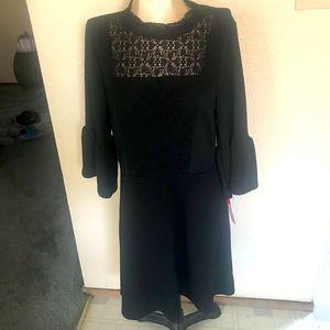 Exhilaration black lace  bell sleeve dress LG
